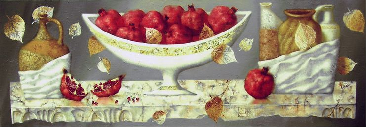 Павел Антипов и его философские картины. Натюрморт с гранатами. 40х120 Холст, масло 2004