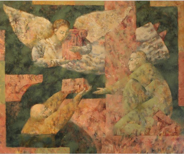 Павел Антипов и его философские картины. Строители. 100х120 Холст, масло 2009