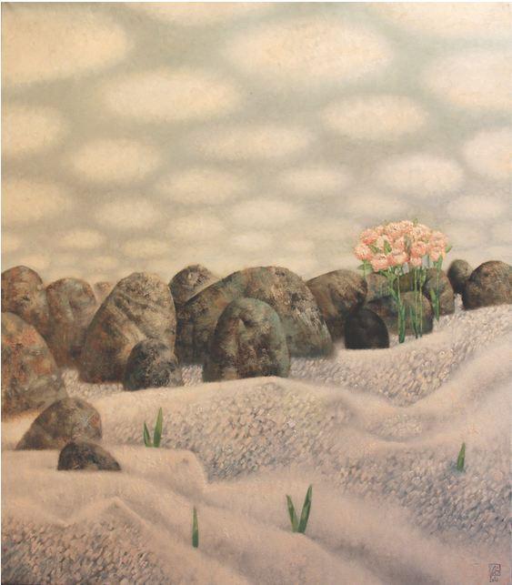 Павел Антипов и его философские картины. Цветы на камнях. 95х110 Холст, масло 2010