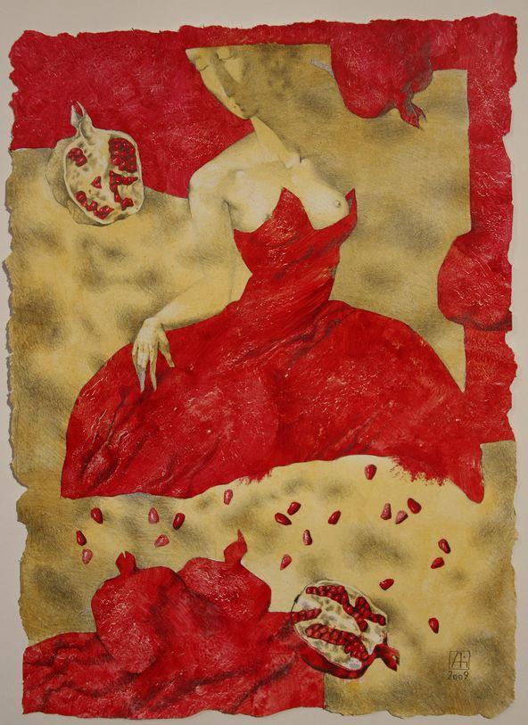 Павел Антипов. Графика. Гранатовое платье. 40х54. Бумага, акрил, карандаш
