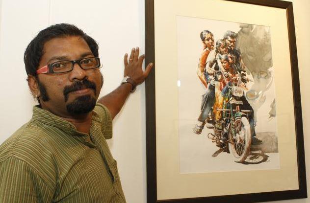 Rajkumar Sthabathy и его акварель. Для масштаба
