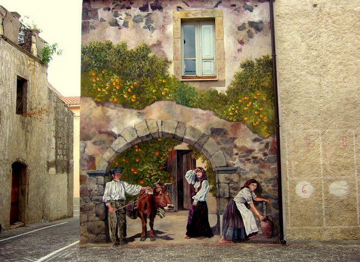 Расписные дома. Картины на стенах. Четвертая роспись в городке Semestene. Сардиния