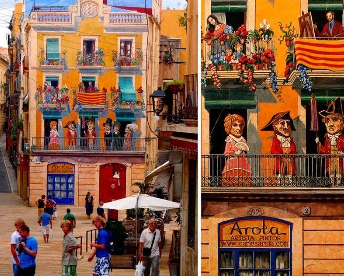 Расписные дома. Картины на стенах. Эта роспись в городе Таррагон, что в Испании