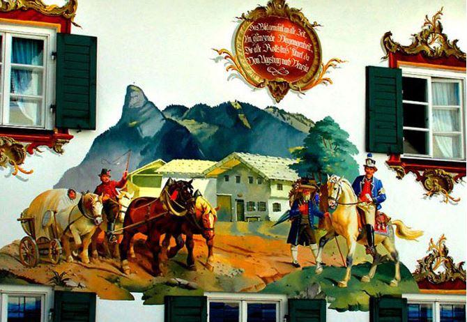 Расписные дома. Картины на стенах. Неизвестный город. Роспись четвертая