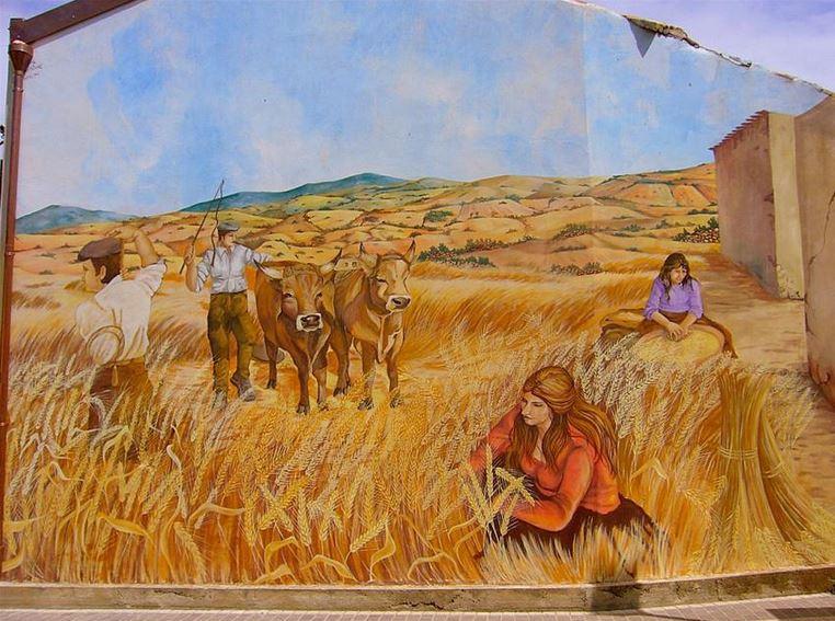 Расписные дома. Картины на стенах. Пятая роспись в городке Сан Сперате. Сардиния