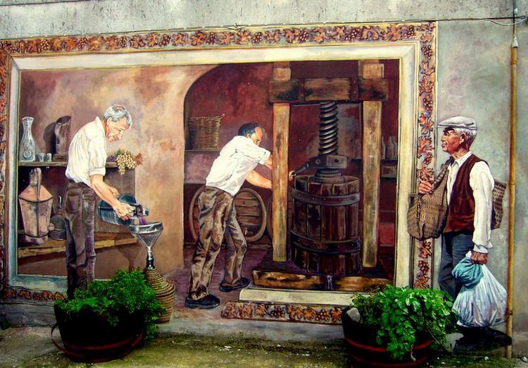 Расписные дома. Картины на стенах. Роспись в городке Cheremule. Сардиния