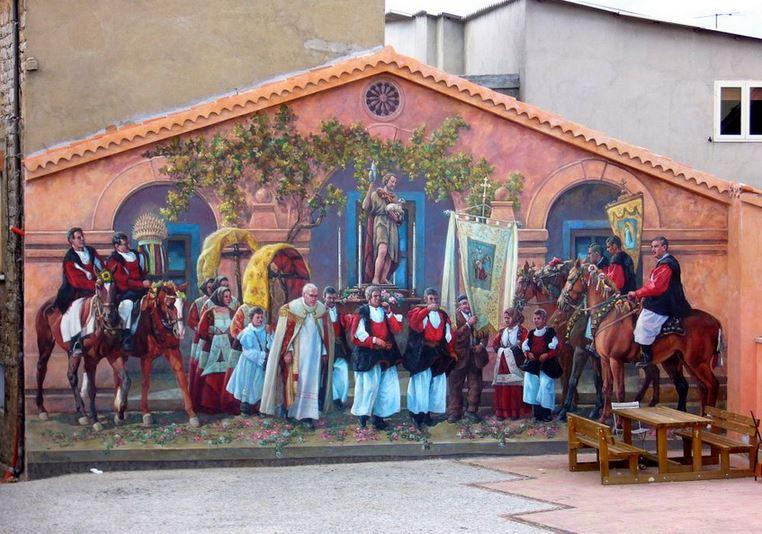 Расписные дома. Картины на стенах. Роспись в городке Fonni. Сардиния