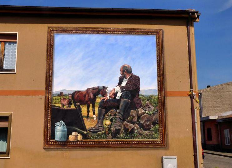 Расписные дома. Картины на стенах. Роспись в городке Нуреци. Сардиния