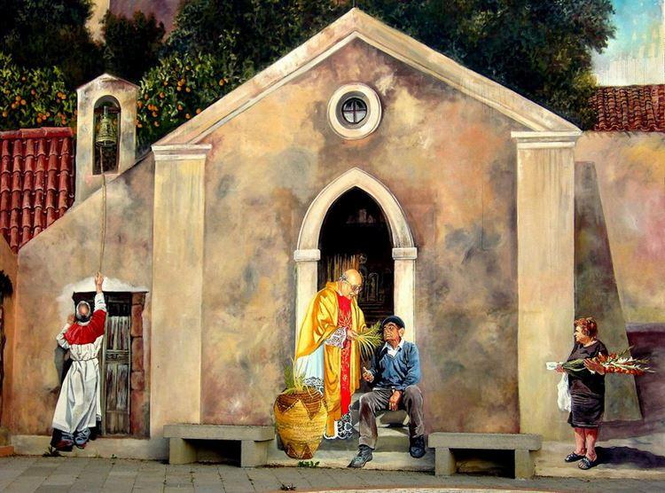 Расписные дома. Картины на стенах. Роспись в городке Sagama. Сардиния