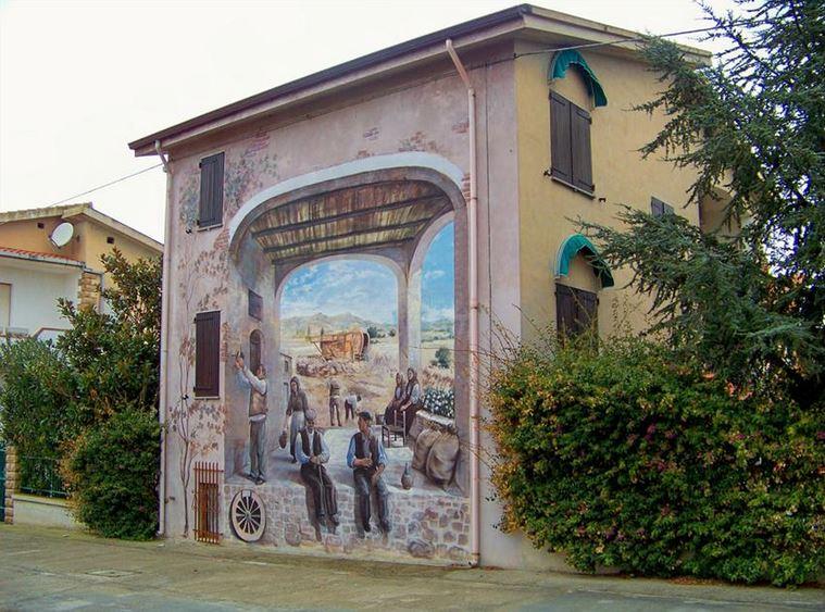 Расписные дома. Картины на стенах. Роспись в городке Тиннура. Сардиния