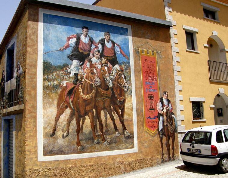 Расписные дома. Картины на стенах. Вторая роспись в городке Fonni. Сардиния