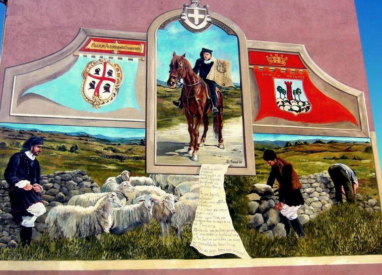 Расписные дома. Картины на стенах.. Шестая роспись в городке Macomer. Сардиния