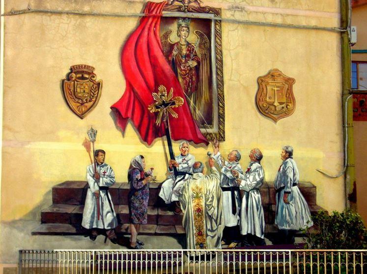 Расписные дома. Картины на стенах.. Вторая роспись в городке Sagama. Сардиния