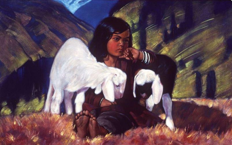 Святослав Рерих. Духовное искусство. Девочка с ягнятами