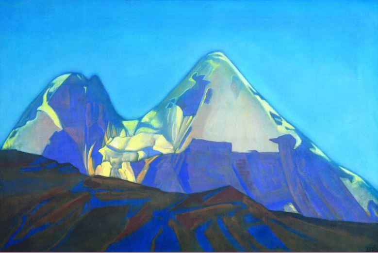 Святослав Рерих. Духовное искусство. Две вершины. Гепанг 61х92 Холст, темпера. 1934
