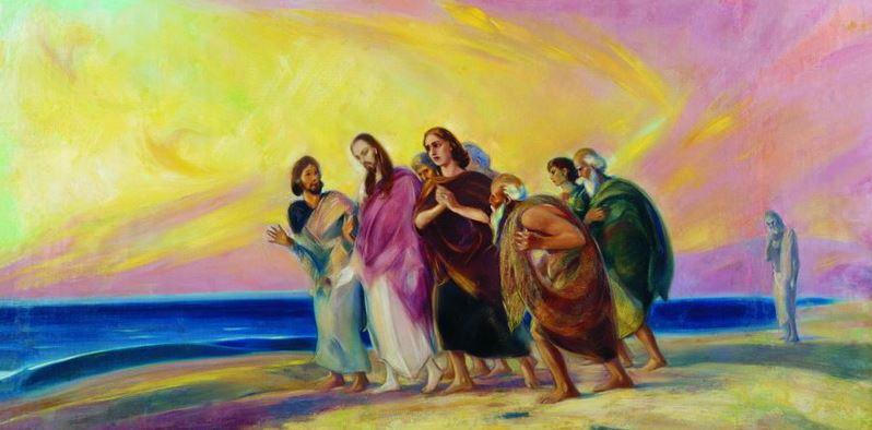 Святослав Рерих. Духовное искусство. Христос с учениками. Начало 1940-х. 91х183 Холст, масло