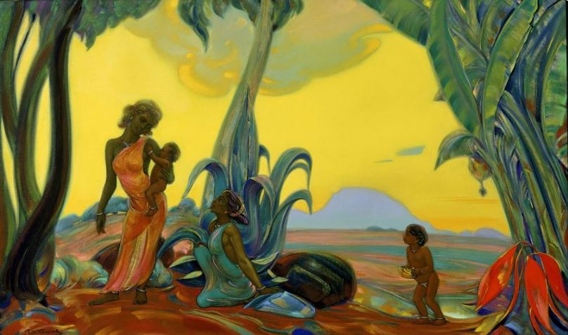 Святослав Рерих. Духовное искусство. Силуэты. 91х163 Холст, темпера 1953