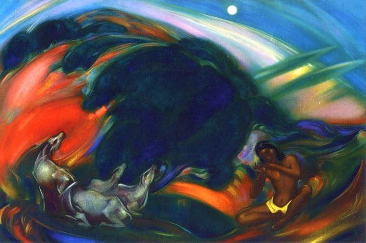 Святослав Рерих. Духовное искусство. Священная флейта 1.  92х139 Холст, темпера, масло. 1946