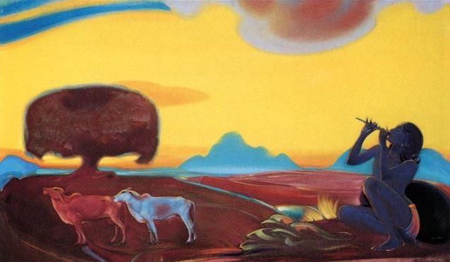Святослав Рерих. Духовное искусство. Священная флейта 3. 91х154 Холст, темпера 1955