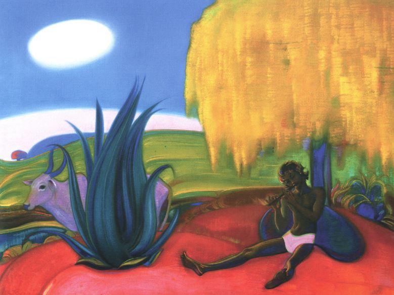 Святослав Рерих. Духовное искусство. Священная флейта 4. 91х124 Холст, темпера. 1968