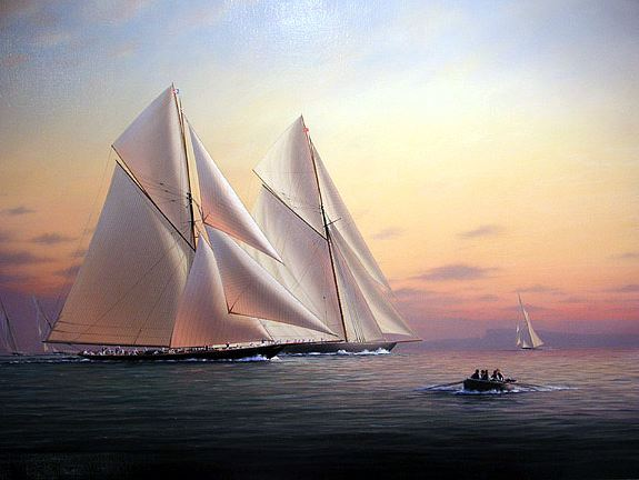 Художник-маринист Tim Thompson. Britannia and Satanita in Torbay. 38х48 дюймов
