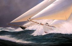 Художник-маринист Tim Thompson. Neck and Neck, Schooner Bows. 23х29 дюймов