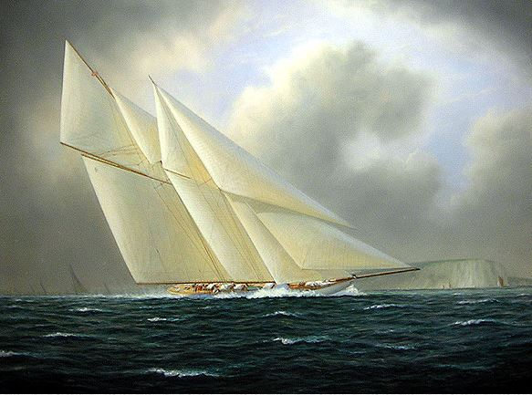 Художник-маринист Tim Thompson. Schooner Yacht WESTWARD off Dover Cliffs. 29х37 дюймов