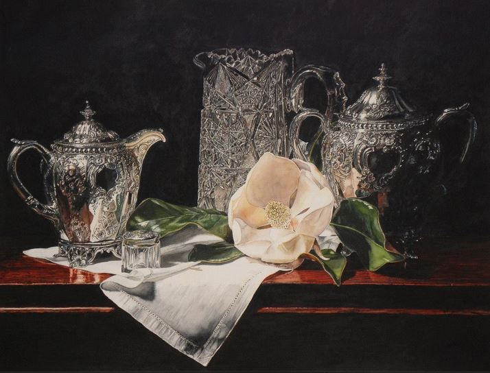 IWS 2012. Laurin McCracken. Crystal & Silver with Magnolia on Linen. 66х51