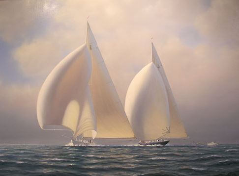 Tim Thompson. America's Cup 1937.  RANGER and ENDEAVOUR II. 37х48 дюймов