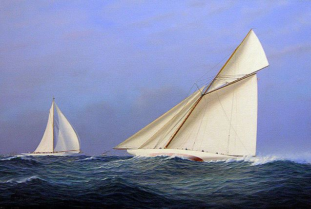 Tim Thompson. Reliance vs. Shamrock II, America's Cup 1903. 20х30 дюймов