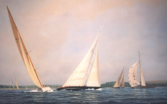 Tim Thompson. The J-Fleet in The Solent. 28х40 дюймов
