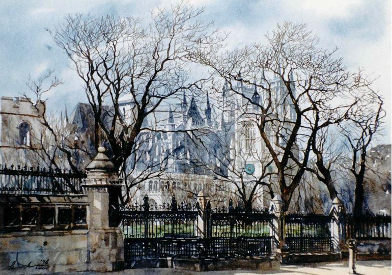 Архитектор-акварелист Paul Dmoch. Abbaye de Westminster, Londres