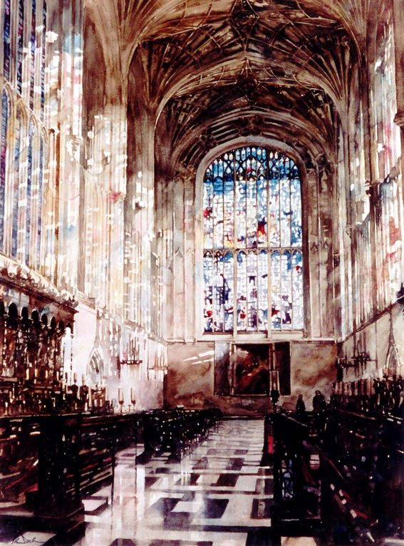 Архитектор-акварелист Paul Dmoch. Choeur, King's College Chapel, Cambridge
