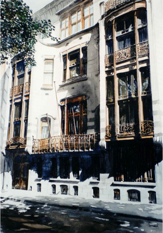 Архитектор-акварелист Paul Dmoch. Faade, Htel Solvay, Bruxelles