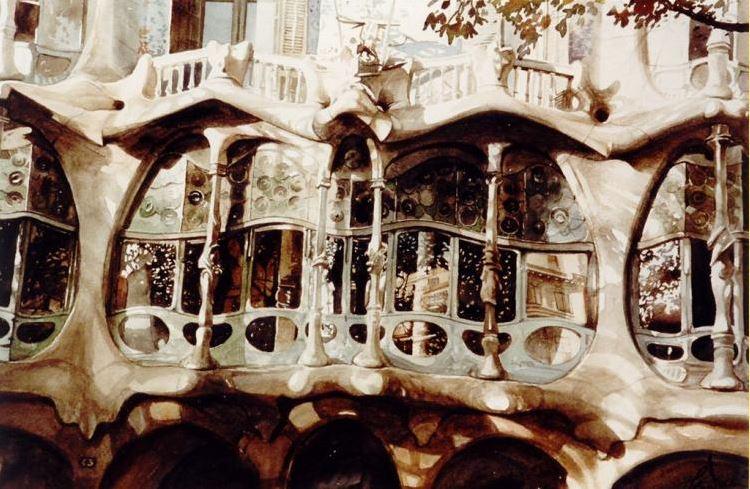Архитектор-акварелист Paul Dmoch. Facade - fragment, Casa Battlo, Barcelona