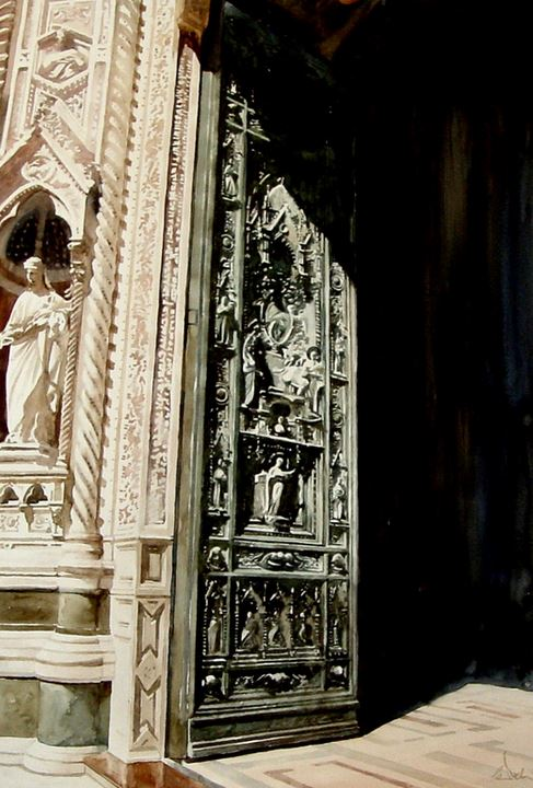Архитектор-акварелист Paul Dmoch. Grandes Portes, Cathdrale Santa Maria del Fiore (Duomo), Florence. 53х75