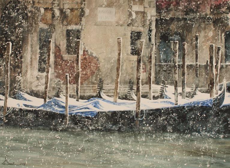 Архитектор-акварелист Paul Dmoch. La beauté gelée - Parrocchia di San Moisè à Venise. 82х58