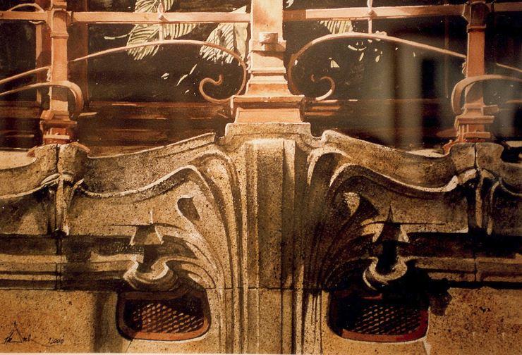 Архитектор-акварелист Paul Dmoch. Maison Victor Horta - détail de la façade, Bruxelles, Belgique. 72 x 105