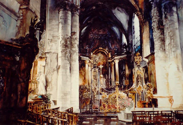 Архитектор-акварелист Paul Dmoch. Nef, Eglise de Saint-Nicolas, Bruxelles