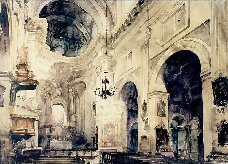 Архитектор-акварелист Paul Dmoch. Nef, Eglise des Piaristes, Cracovie