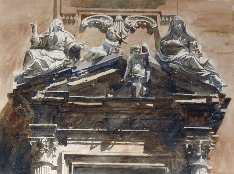 Архитектор-акварелист Paul Dmoch. Portail I - fragment, Piazza San Firenze, Florence