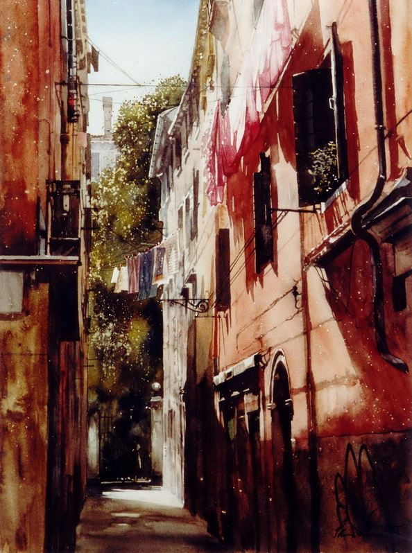 Архитектор-акварелист Paul Dmoch. Red House, Santa Croce, Venice