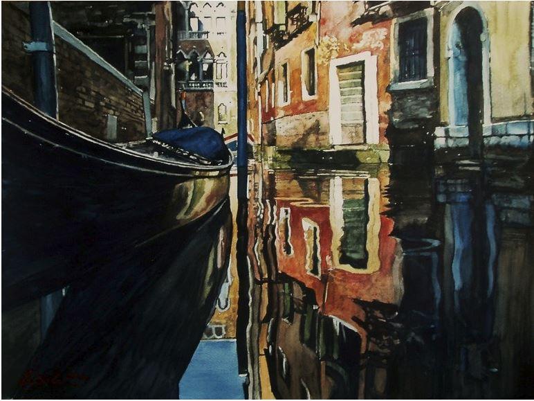 Архитектор-акварелист Paul Dmoch. Rio de la Verona à Venise, Italie. 67х50