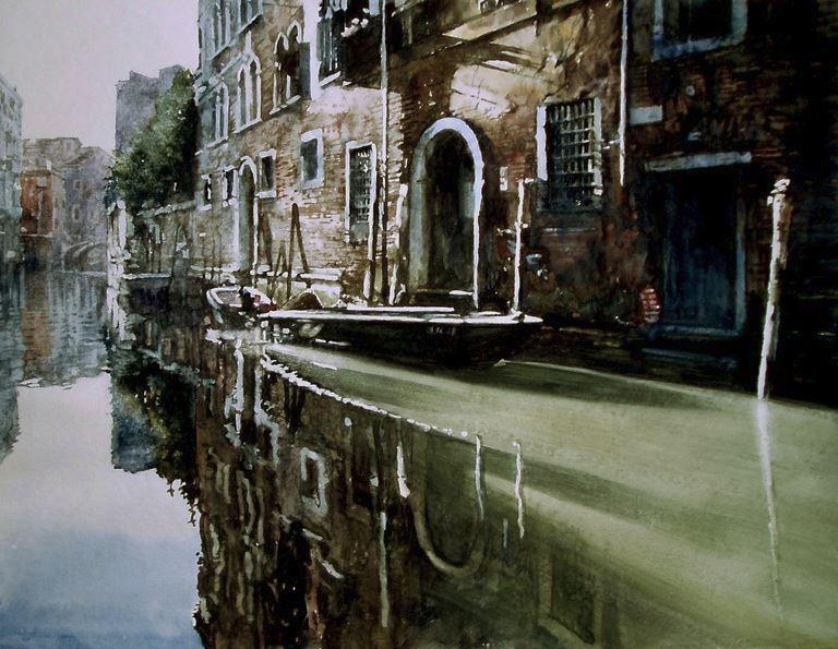 Архитектор-акварелист Paul Dmoch. Rio dei Santi Apostoli (Ponte San Canzian) à Venise, Italie
