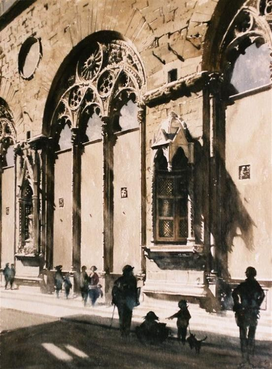 Архитектор-акварелист Paul Dmoch. Ruelles de Florence