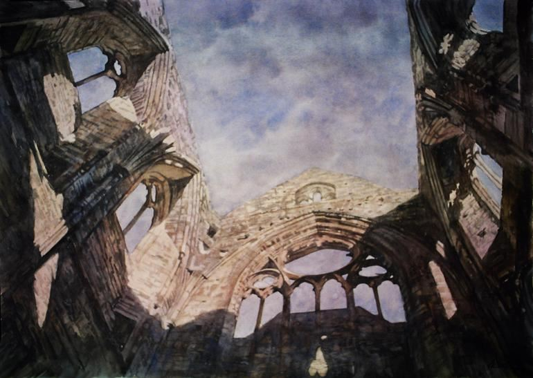 Архитектор-акварелист Paul Dmoch. Tintern Abbey