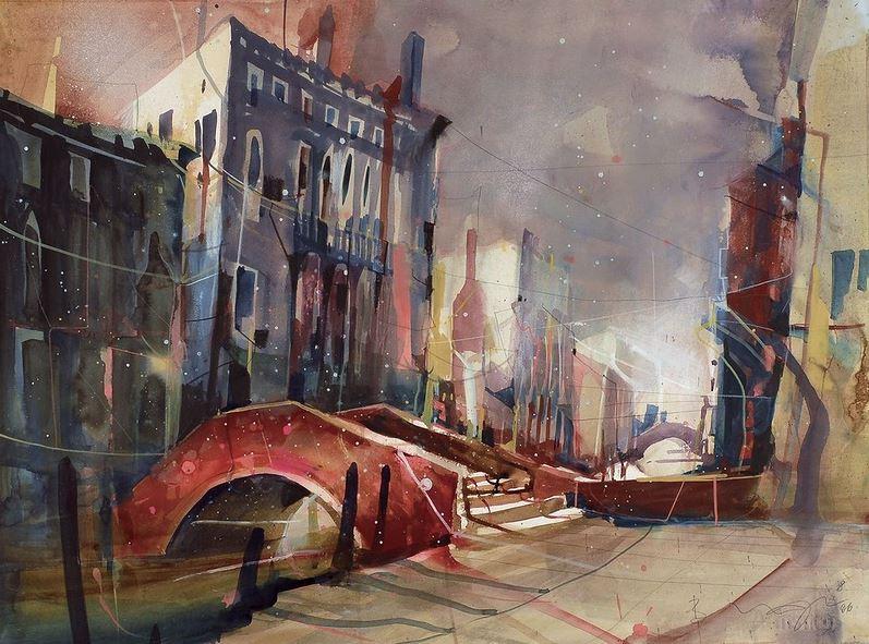 Bernhard Vogel. Городской пейзаж акварель. Campo Forner, Venice