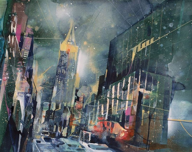 Bernhard Vogel. Городской пейзаж акварель. N.Y. 34th street by rain