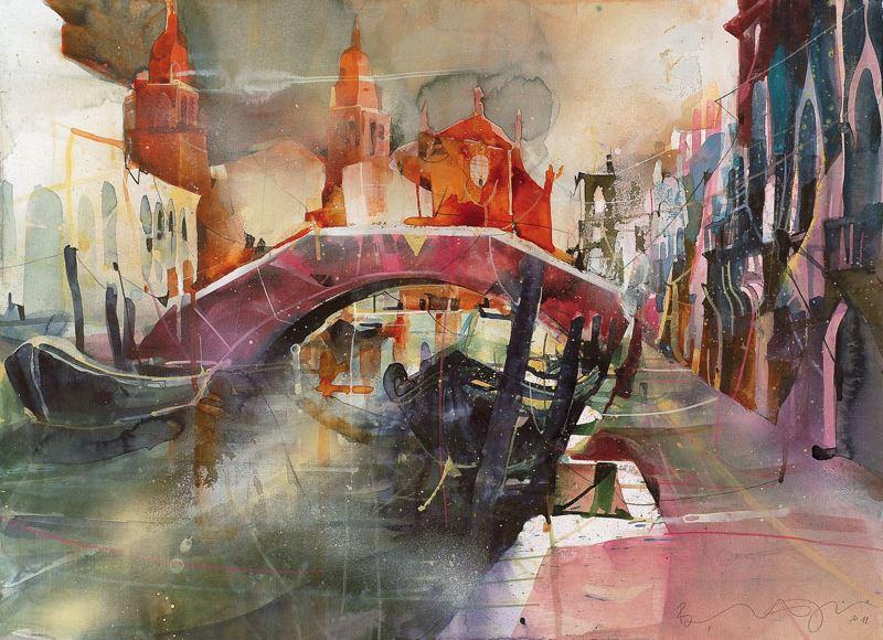 Bernhard Vogel. Городской пейзаж акварель. Rio Santa Margeritha, Venice. 52х76