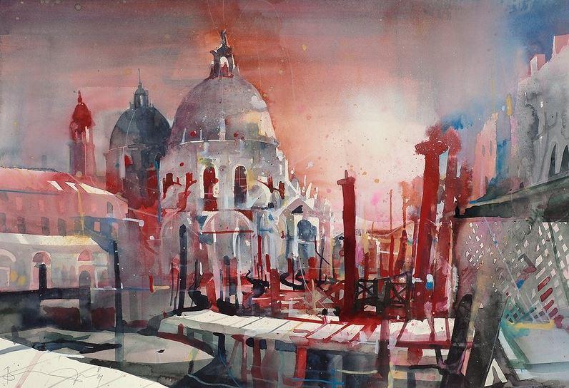 Bernhard Vogel. Городской пейзаж акварель. Salute Abendstimmung, Venedig-Salute di sera